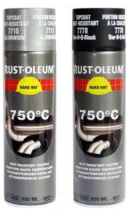 farba termoodporna żaroodporna spray odporny na wysokie temperatury rust oleum hard hat 7778 7715 do wysokich temperatur aerozol lakier